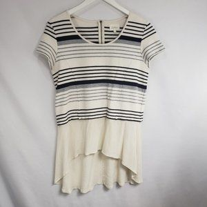 Anthro Deletta Cream Striped Crepe Hem Tunic